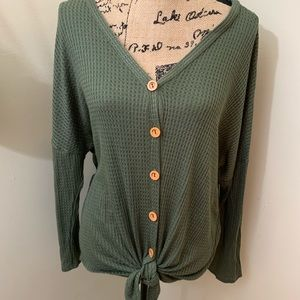 Slouchy Waffle Knit Button Up Knot Top